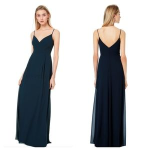 Bill Levkoff V-Neck Sleeveless Chiffon Maxi Dress